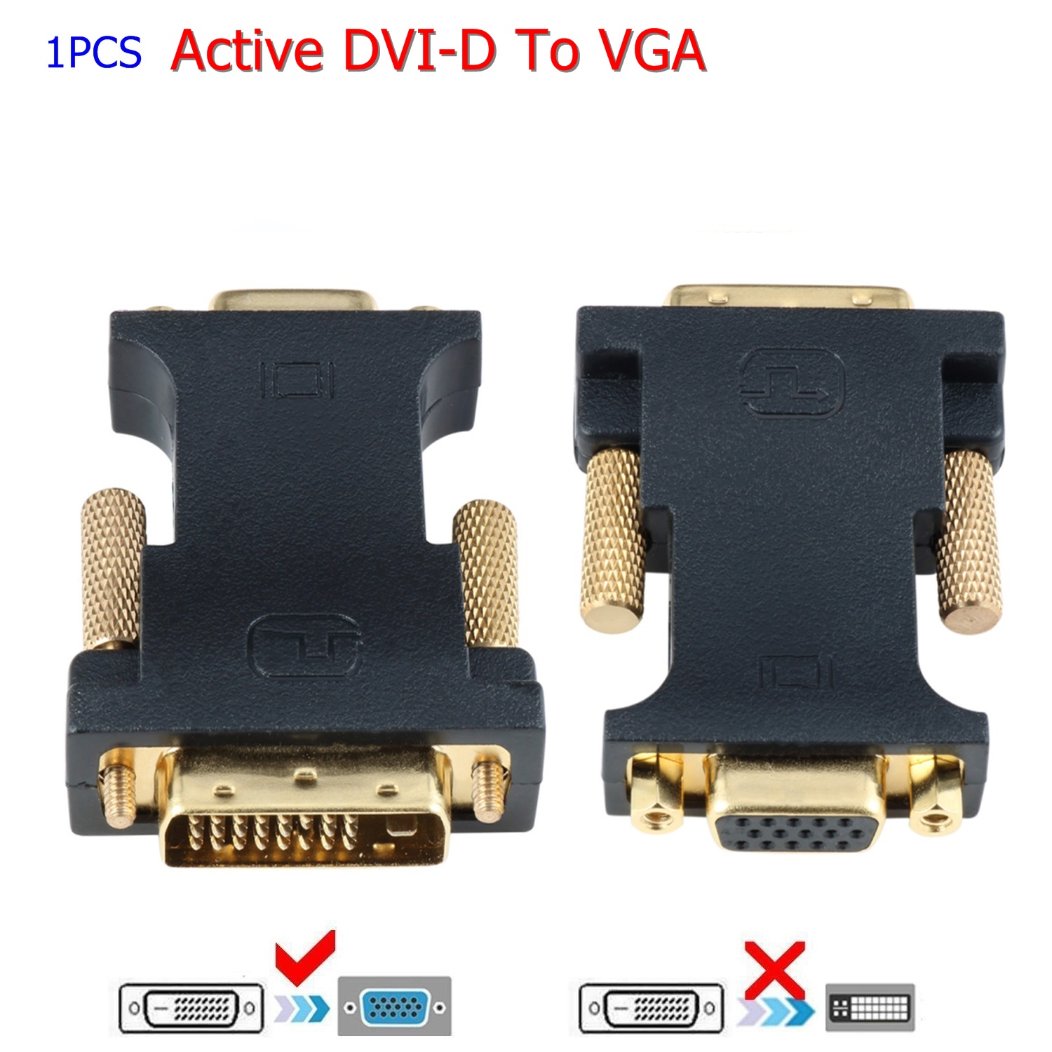 DVI D Male To VGA Female Socket Adapter Converter VGA to DVI//24+1 Pin Male to VGA Female Adapter Converter-Black-1 Size